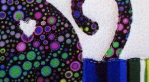 Cat Love Profile mini art quilt