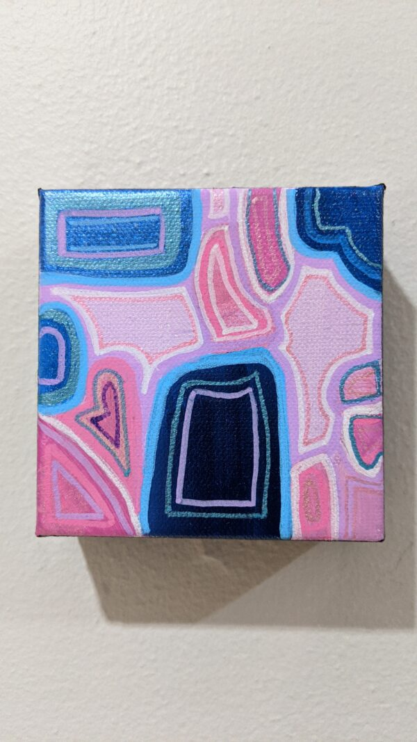 "4""x4"" MOD pink, blue, and lavender painting"