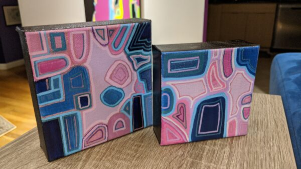 "Photo of the 5""x5"", and 4""x4"" MOD paintings"