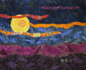 Mini Millefiori Moonlight small fabric art quilt