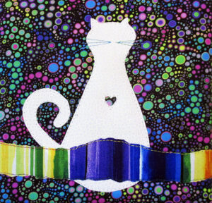Cat Love Profile mini art quilt