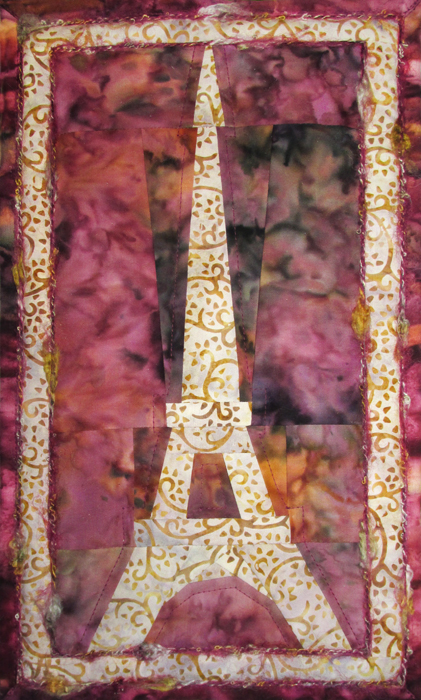 Eiffel Sunrise Fabric Art Quilt