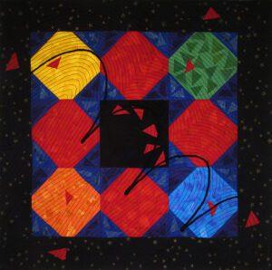 Red Rubber Ball Fabric Art Quilt
