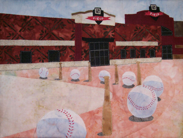 Take Me Out to the Ball Game Fabric Art Quilt