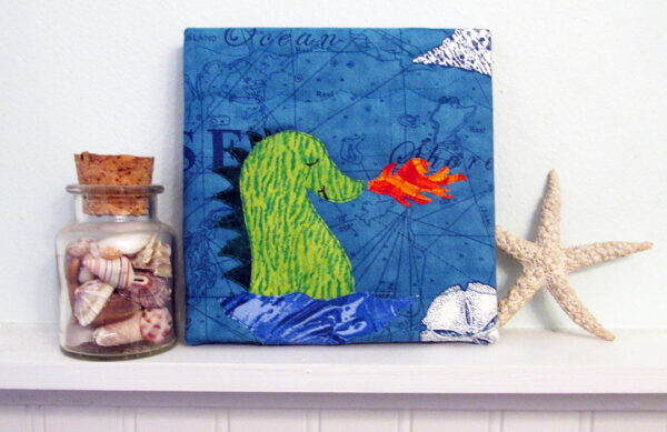 There Be Dragons mini quilt art