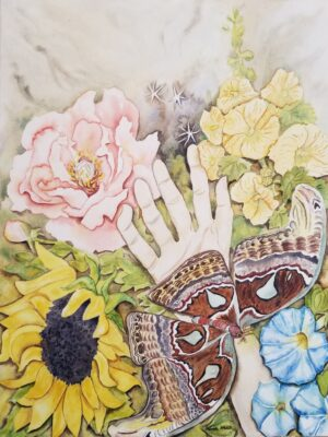 watercolor floral with atlas moth