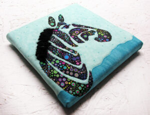 Effervescent Zebra Fabric Art Quilt