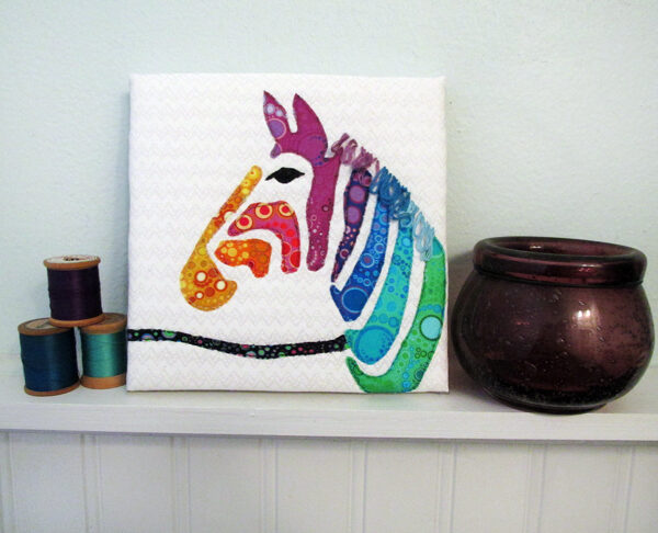 Rainbow Zebra Fabric Art Quilt