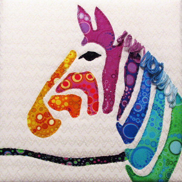 Rainbow Zebra Fabric Art Quilt