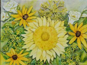 sunflower bouquet watercolor on canvas