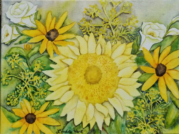 sunflower bouquet watercolor on canvas