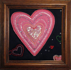 Be My Valentine Heart Emojis Mini Framed Art Quilt