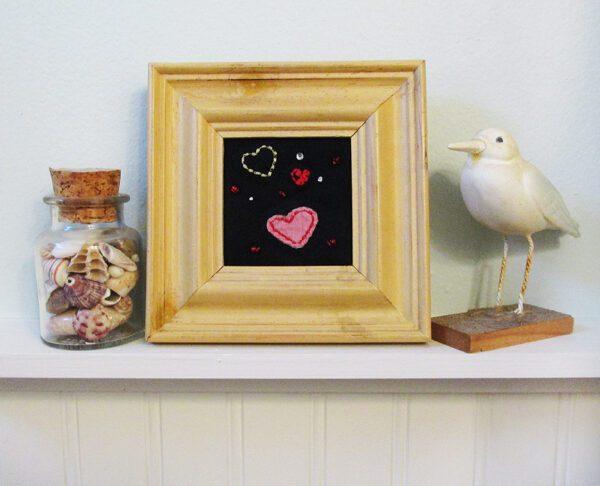 Heart Emojis Mini Framed Art Quilt